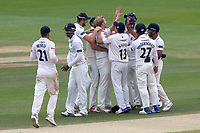 Simon Harmer of Essex is congratulated by his team mates after taking the wicket of Andrew Umeed during Essex CCC vs Warwickshire CCC, Specsavers County Championship Division 1 Cricket at The Cloudfm County Ground on 22nd June 2017