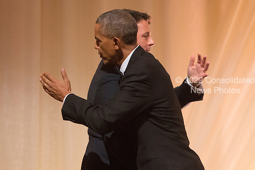 US President Barack Obama (L) greets Italian Prime Minister Matteo Renzi (R) after offering a toast during a state dinner on the South Lawn of the White House in Washington DC, USA, 18 October 2016. President Obama hosts his final state dinner, featuring celebrity chef Mario Batali and singer Gwen Stefani performing after dinner. <br /> Credit: Michael Reynolds / Pool via CNP