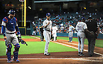 (L-R) A.J. Pierzynski, Yu Darvish, Ron Washington (Rangers), AUGUST 12, 2013 - MLB : A.J. Pierzynski (L) of the Texas Rangers argues with home plate umpire Ron Kulpa (R) in the sixth inning during the MLB game between the Texas Rangers and the Houston Astros at Minute Maid Park in Houston, Texas, United States. (Photo by AFLO)