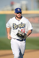 Joey Curletta (44) of the Rancho Cucamonga Quakes returns to the dugout during a game against the Bakersfield Blaze at LoanMart Field on June 1, 2015 in Rancho Cucamonga, California. Rancho Cucamonga defeated Bakersfield, 5-2. (Larry Goren/Four Seam Images)