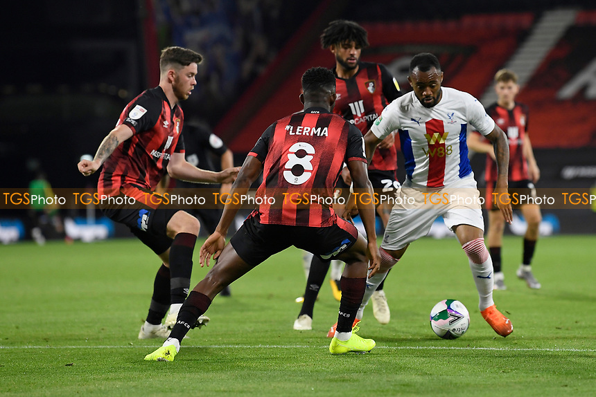Jordan Ayew of Crystal Palace right is crowded out by the AFC Bournemouth defence during AFC Bournemouth vs Crystal Palace, Carabao Cup Football at the Vitality Stadium on 15th September 2020
