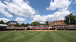 RALEIGH, NC - MAY 07: A wide shot of Dail Softball Stadium from center field. The North Carolina State University Wolfpack hosted the University of Louisville Cardinals on May 7, 2017, at Dail Softball Stadium in Raleigh, NC in a Division I College Softball game. Louisville won the game 7-0.
