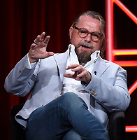 """BEVERLY HILLS - AUGUST 6: Co-Creator/Executive Producer/Writer Kurt Sutter onstage during the """"Mayans M.C."""" panel at the FX Networks portion of the Summer 2019 TCA Press Tour at the Beverly Hilton on August 6, 2019 in Los Angeles, California. (Photo by Frank Micelotta/FX Networks/PictureGroup)"""