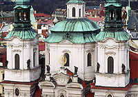 A CHURCH, as seen from the tower of OLD TOWN HALL, is intact as it survived WWII - CZECH REPUBLIC