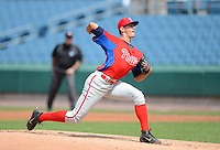 Pitcher Joseph Gatto (33) of St. Augustine Prep in Hammonton, New Jersey playing for the Philadelphia Phillies scout team during the East Coast Pro Showcase on July 31, 2013 at NBT Bank Stadium in Syracuse, New York.  (Mike Janes/Four Seam Images)