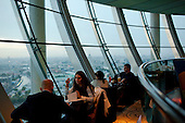 Moscow, Russia<br /> September 17, 2009<br /> <br /> A view of the 5-star Swissotel Krasnye Holmy Hotel's City Space Bar &amp; Lounge is a 360 degree panoramic cocktail bar on the top - 34th floor of the hotel.