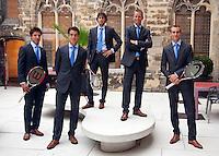 16-9-09, Netherlands,  Maastricht, Tennis, Daviscup Netherlands-France, Team, Team zonder Sluiter, v.l.n.r.: Igor Sijsling, Jesse Huta Galung, Robin Haase, captain Jan Siemerink en kopman Thiemo de Bakker