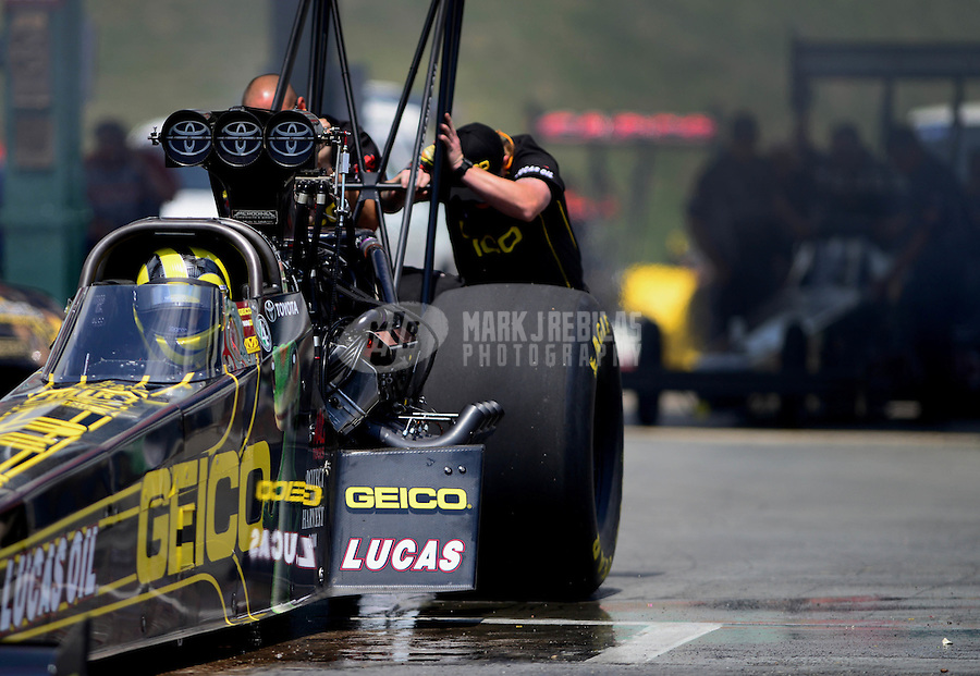May 19, 2012; Topeka, KS, USA: NHRA top fuel dragster driver Morgan Lucas during qualifying for the Summer Nationals at Heartland Park Topeka. Mandatory Credit: Mark J. Rebilas-
