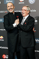 Singer Miguel Bose and Barcelona's Mayor Xavier Trias during Barcelona 5th AIDS Ceremony. November 24,2014.(ALTERPHOTOS/Acero) /NortePhoto<br />