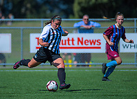 Action from the 2018 New Zealand Age Group Football Championships Under-16 Girls match between Northern (black tops) and Southern at Memorial Park in Petone, Wellington, New Zealand on Wednesday, 12 December 2018. Photo: Dave Lintott / lintottphoto.co.nz
