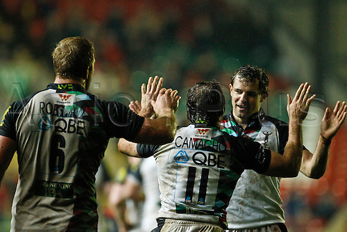 05.11.2010 LV= Cup Leicester Tigers v Harlequins. Gonzalo Comacho celebrates after scoring his side's third try.  Leicester Tigers v Harlequins, LV= Cup, Welford Road.  Final score: Leicester 25-34 Harlequins.