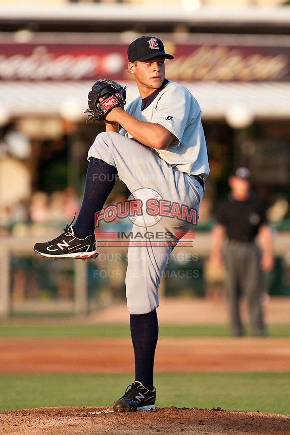 Pitcher Nicholas Bucci #16 of the Brevard County Manatees delivers a pitch during the game against the Daytona Beach Cubs at Jackie Robinson Ballpark on April 9, 2011 in Daytona Beach, Florida. Photo by Scott Jontes / Four Seam Images