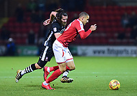 Lincoln City's Michael Bostwick vies for possession with Crewe Alexandra's Jordan Bowery<br /> <br /> Photographer Andrew Vaughan/CameraSport<br /> <br /> The EFL Sky Bet League Two - Crewe Alexandra v Lincoln City - Saturday 11th November 2017 - Alexandra Stadium - Crewe<br /> <br /> World Copyright &copy; 2017 CameraSport. All rights reserved. 43 Linden Ave. Countesthorpe. Leicester. England. LE8 5PG - Tel: +44 (0) 116 277 4147 - admin@camerasport.com - www.camerasport.com
