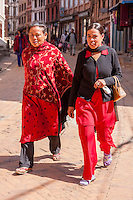 Bhaktapur, Nepal.  Women Wearing Red and Black, the Colors Traditionally Worn by Bhaktapur Women.