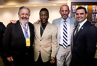 Pele, Don Garber, Joe Fraga, NY Cosmos. The group watched Brazil defeat the United States, 2-0, in an international friendly at the New Meadowlands Stadium in East Rutherford, NJ.