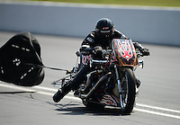 Jun. 15, 2012; Bristol, TN, USA: NHRA top fuel Harley motorcycle rider XXXX during qualifying for the Thunder Valley Nationals at Bristol Dragway. Mandatory Credit: Mark J. Rebilas-