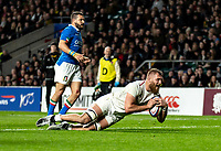 Brad Shields of England scores his 2nd try during the Guinness Six Nations match between England and Italy at Twickenham Stadium on March 9th, 2019 in London, United Kingdom. Photo by Liam McAvoy.