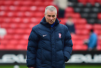 York City manager Gary Mills before kick off<br /> <br /> Photographer Andrew Vaughan/CameraSport<br /> <br /> Buildbase FA Trophy Semi Final Second Leg - Lincoln City v York City - Saturday 18th March 2017 - Sincil Bank - Lincoln<br />  <br /> World Copyright &copy; 2017 CameraSport. All rights reserved. 43 Linden Ave. Countesthorpe. Leicester. England. LE8 5PG - Tel: +44 (0) 116 277 4147 - admin@camerasport.com - www.camerasport.com
