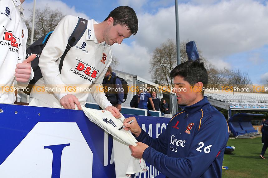 Alastair Cook of Essex signs a shirt for the fans during the Essex CCC Press Day at The Cloudfm County Ground on 5th April 2017