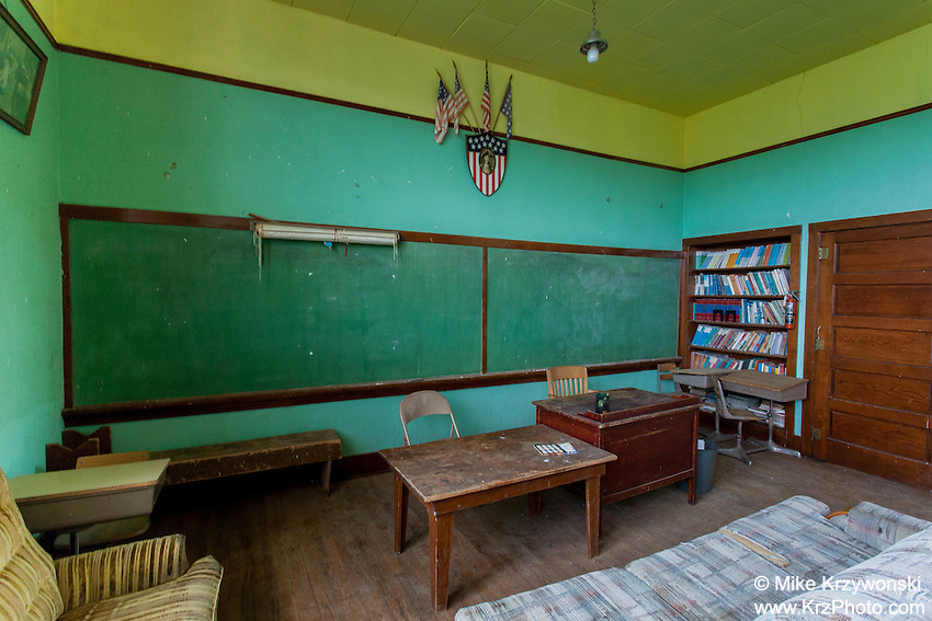 Classroom of old abandoned school in Boyes, MT