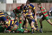 Kane Hancy passes from a ruck. Counties Manukau Premier Club Rugby, Waiuku vs Patumahoe played at Rugby Park, Waiuku on the 8th of April 2006. Waiuku won 18 - 15
