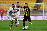 Wellington Phoenix' Nathan Burns and Western Sydney Wanderers FC's Tarek Elrich in action during the A-League - Wellington Phoenix v Western Sydney Wanderers at Westpac Stadium, Wellington, New Zealand on Saturday 3 November  2018. <br /> Photo by Masanori Udagawa. <br /> www.photowellington.photoshelter.com