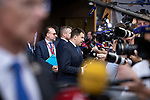 BRUSSELS - BELGIUM - 20 June 2019 -- European Council, summit meeting with heads of state. -- Leaders speaking to the media. (f. left) In the for ground Krisjanis Karins Prime Minister of Latvia; Peter Pellegrini Prime Minister of Slovakia; Jüri (Jueri) Ratas Prime Minister of Estonia. -- PHOTO: Juha ROININEN / EUP-IMAGES
