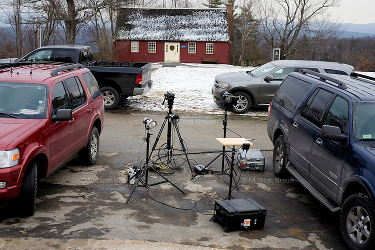 Television equipment stands in a parking lot outside a Rick Santorum campaign stop at Dublin School in Dublin, New Hampshire, on Jan. 6, 2012.  Santorum is seeking the 2012 GOP Republican presidential nomination.