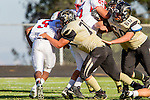 Palos Verdes, CA 09/27/13 - Deandre Shaw (Lawndale #5) and Luke Megginson (Peninsula #78) and Carlo Merola (Peninsula #60)