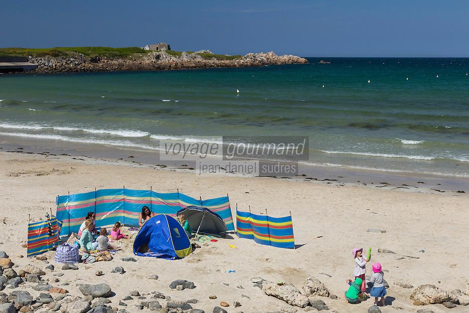 Royaume-Uni, îles Anglo-Normandes, île de Guernesey, Vale: Plage de Pembroke bay// United Kingdom, Channel Islands, Guernsey island, Vale:  Beach,  Pembroke bay/
