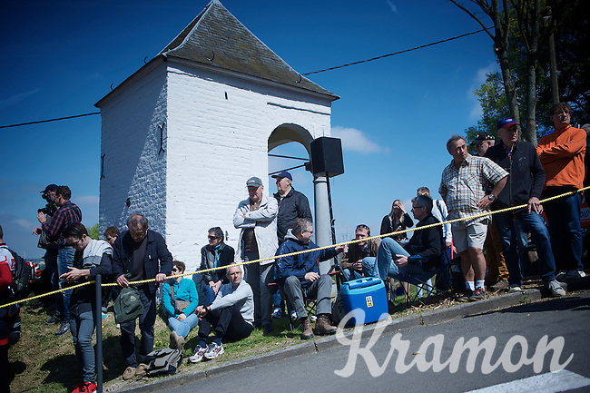 fans waiting for the peloton to ride by on the infamous Mur de Huy (1300m/9.8%)<br /> <br /> 79th Flèche Wallonne 2015