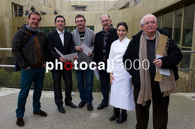Iñaki Martinez, Jose Maria Aizega, Andoni Aduriz, Pedro Subijana, Elena Arzak y Juan Mari Arzak en el Basque Culinary Center