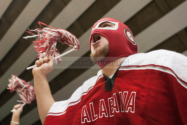 A fan of the Alabama Crimson Tide cheers during the game against the Kentucky Wildcats at Coleman Coliseum on Saturday, January 17, 2015 in in Tuscaloosa, AL. Kentucky defeated Alabama 70-48. Photo by Michael Reaves | Staff