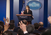 White House Spokesperson Sarah Sanders holds a news briefing at The White House in Washington, DC, March 12, 2018. Credit: Chris Kleponis / CNP