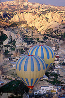 Goreme, Cappadocia, Nevsehir, Turkey. The village of Goreme. A hot air balloon flight is one of the best ways to explore the fairy chimney landscape of Cappadocia and the Gorme National Park. Photo by Frits Meyst / MeystPhoto.com