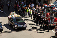 Montreal quebec CANADA - july 19, 2012 - Official funeral for deceased Montreal fireman Thierry Godfrind.<br /> <br /> Les funerailles officielles du pompier Thierry Godfrind  vendredi matin à la basilique Notre-Dame à Montreal.<br /> <br /> Photo (c) 2012 by Images Distribution