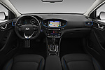 Stock photo of straight dashboard view of 2017 Hyundai Ioniq-Hybrid Executive 5 Door Hatchback Dashboard