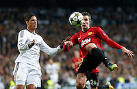 Real Madrid's Raphael Varane (l) and Manchester United's Robin Van Persie during Champions League 2012/2013 match.February 12,2013. (ALTERPHOTOS/Alfaqui/Alex Cid-Fuentes)