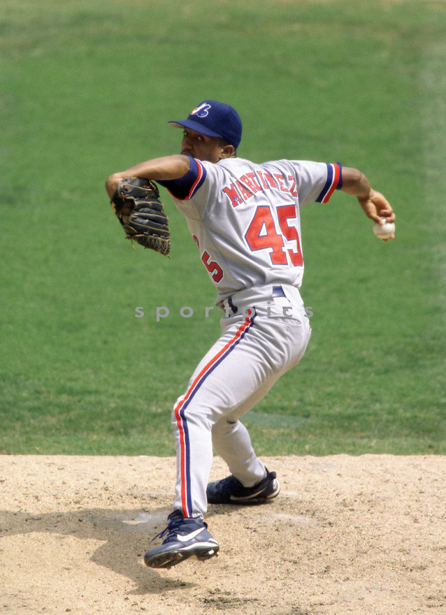 Montreal Expos Pedro Martinez(45) during a  game from his career with the Montreal Expos. Pedro Martinez played for 18 years, with 5 different teams was a 8-time All-Star, 3-time Cy Young Award winner and was inducted in the Baseball Hall of Fame in 2015.(SportPics)
