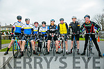 At the St. Brendan's N.S. FENIT Coastal Cycle fundraiser for St Brendan's N.S were l-r  David Fitzgerald, Johnny O'Sullivan, David Kelly, Edward Mahony, Paudie O'Sullivan, Patrick Casey, Martin Leahy and John Paul Leen