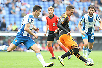 2nd November 2019; RCDE Stadium, Barcelona, Catalonia, Spain;La Liga Football, Real Club Deportiu Espanyol de Barcelona versus Club de Futbol Valencia;  Rodrigo of Valancia turns away from his marker - Editorial Use