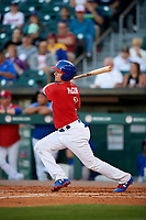 Buffalo Bisons catcher Reese McGuire (3) bats during a game against the Syracuse Chiefs on July 6, 2018 at Coca-Cola Field in Buffalo, New York.  Buffalo defeated Syracuse 6-4.  (Mike Janes/Four Seam Images)