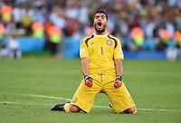 FUSSBALL WM 2014                FINALE Deutschland - Argentinien     13.07.2014 Kurzer Jubel: Torwart Sergio Romero (Argentinien)