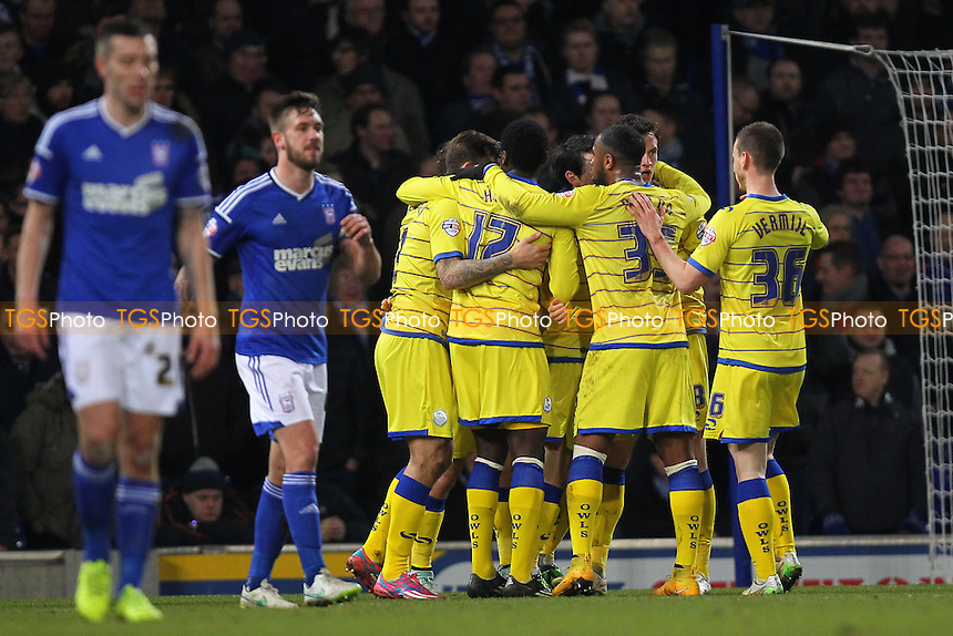 Sheffield Wednesday celebrate scoring their first goal - Ipswich Town vs Sheffield Wednesday - Sky Bet Championship Football at Portman Road, Ipswich, Suffolk  - 10/02/15 - MANDATORY CREDIT: Gavin Ellis/TGSPHOTO - Self billing applies where appropriate - contact@tgsphoto.co.uk - NO UNPAID USE
