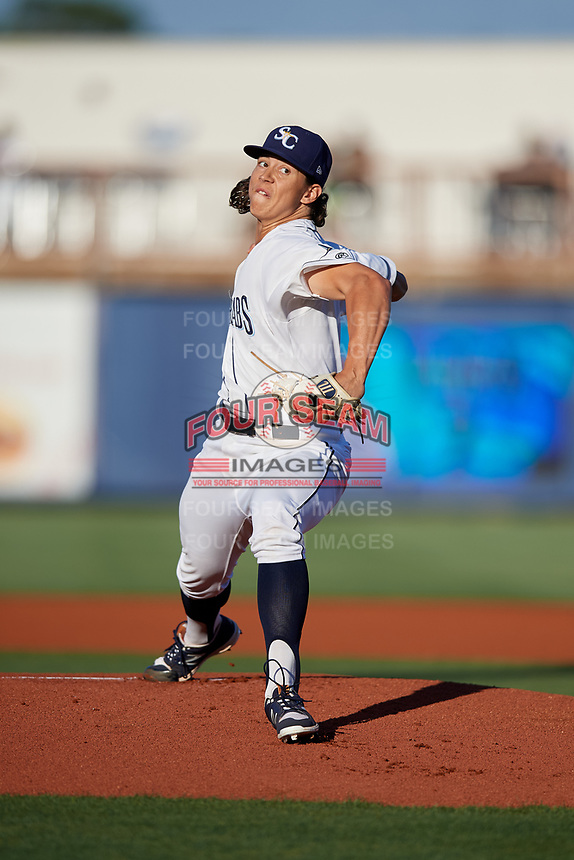 Charlotte Stone Crabs starting pitcher Mikey York (7) delivers a pitch during a game against the Palm Beach Cardinals on April 20, 2018 at Charlotte Sports Park in Port Charlotte, Florida.  Charlotte defeated Palm Beach 4-3.  (Mike Janes/Four Seam Images)