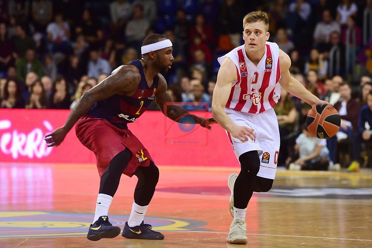 Turkish Airlines Euroleague 2016/2017.<br /> Regular Season - Round 28.<br /> FC Barcelona Lassa vs Crvena Zvezda MTS Belgrade: 67-54.<br /> Tyrese Rice vs Nate Wolters.