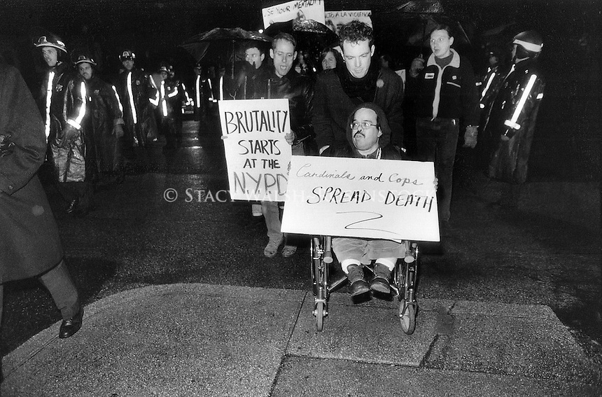 15 March 1991 - March to Stop the Violence - Harry Weider and other Act-Up activists march, in the rain , through the streets of Queens to the home of Police Chief Robert Johnson.