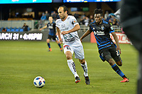San Jose, CA - Saturday March 24, 2018: Landon Donovan, Fatai Alashe during an international friendly between the San Jose Earthquakes and Club Leon FC at Avaya Stadium.
