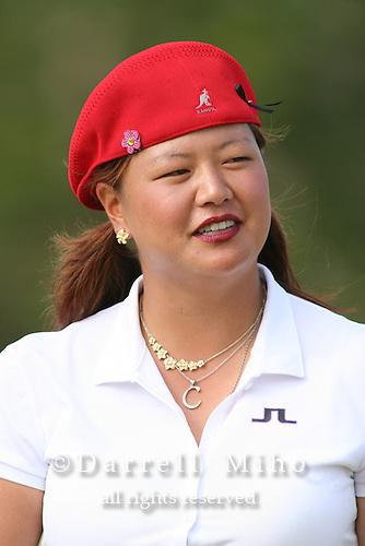February 18, 2006; Kahuku, HI - Christina Kim enjoys a light moment before the final round of the LPGA SBS Open at Turtle Bay Resort...Mandatory photo credit: Darrell Miho.© Darrell Miho