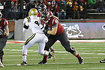 Noah Osur-Myers, Washington State University offensive lineman, blocks during the Cougars Pac-12 Conference victory over the UCLA Bruins, 27-21, on October 15, 2016, at Martin Stadium in Pullman, Washington.